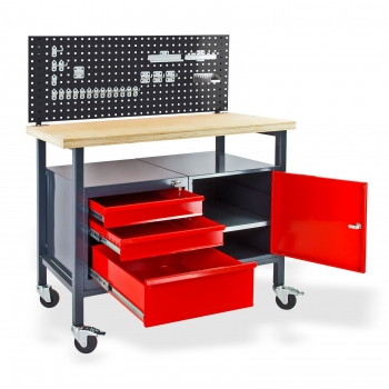 metall werkbank mit rollen lochwand u hakenset online. Black Bedroom Furniture Sets. Home Design Ideas