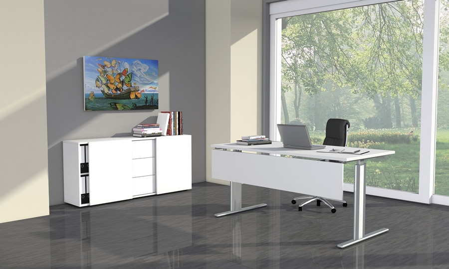 Buro Sideboard Mit Schiebeturen Und Schubladen Aus Holz Fintabo De