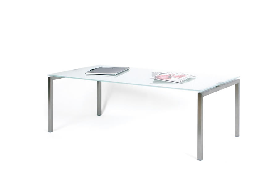 glastisch 600x1200mm mit edelstahlgestell. Black Bedroom Furniture Sets. Home Design Ideas