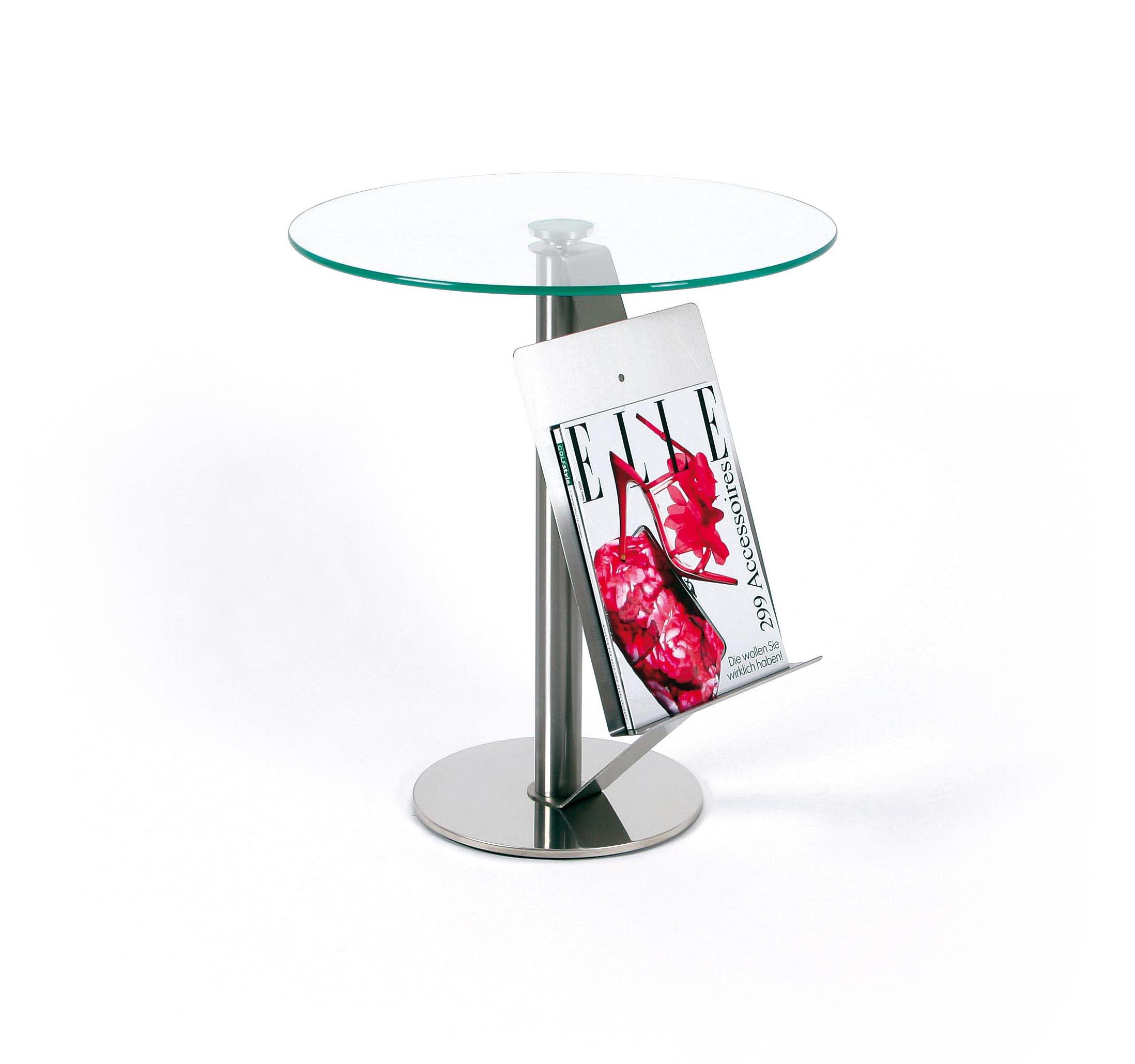 Glastisch mit Zeitungsablage - Runder Glastisch | Fintabo.de