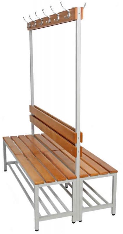 Doppelseitige Sitzbänke mit Kleiderhaken - Umkleidebänke | Fintabo.de