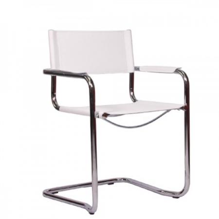 Freischwinger Stühle Leder Weiss ~  » Freischwinger » Stapelbarer Freischwinger  Echt Leder ,,Faro