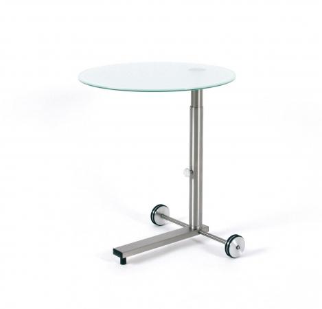 runder h henverstellbarer glastisch mit rollen. Black Bedroom Furniture Sets. Home Design Ideas